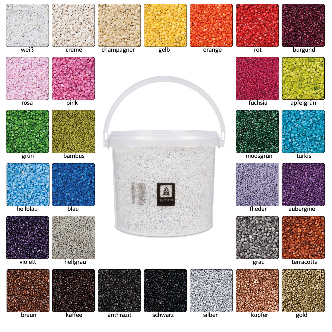 granulat 2 3 mm 5 liter eimer 8 kg 30 verschiedene farben. Black Bedroom Furniture Sets. Home Design Ideas