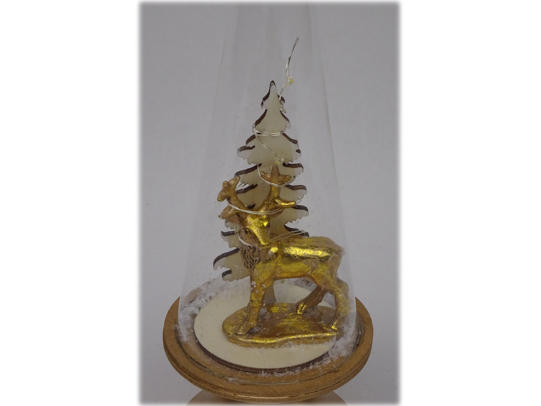 hirsch in glas mit led lichterkette weihnachtsbeleuchtung weihnachtsdeko advent ebay. Black Bedroom Furniture Sets. Home Design Ideas