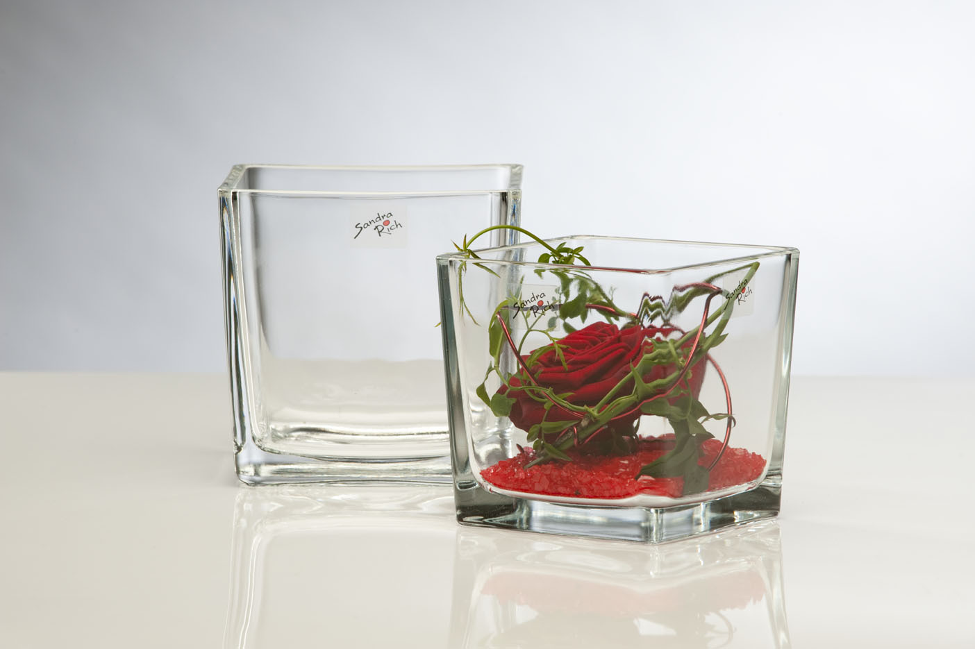 Teelichthalter Windlicht CUBE H 8cm 8x8cm Glas quadratisch klar Sandra Rich